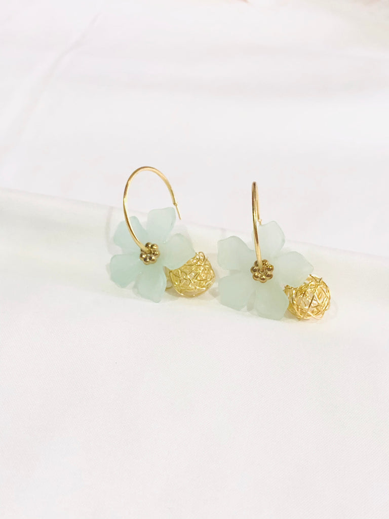 Yvona Floral Hoop Earrings