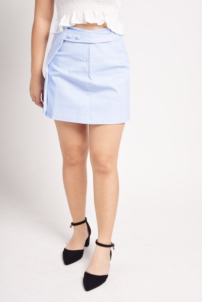 Dicarta Striped Button And Overlap Panel Skirt