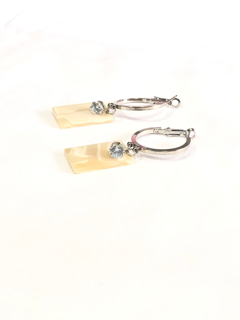Wellesey Shell Rectangle Hoop Earrings