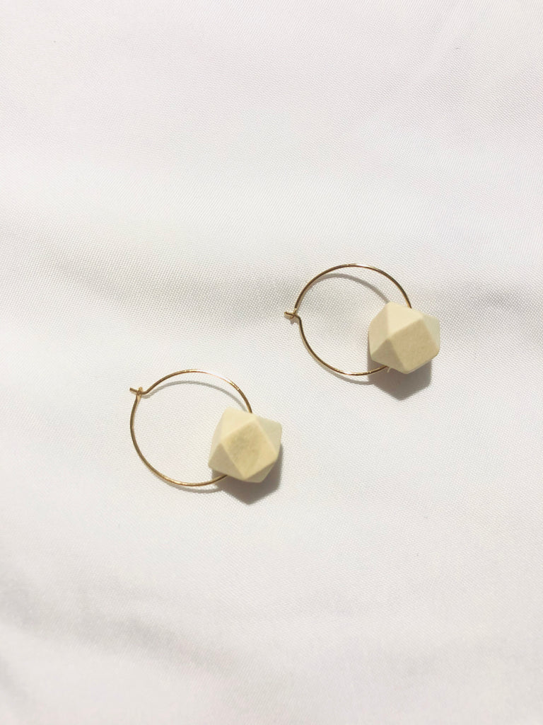 Leiden Bohemian Wood Hexagon Hoop Earrings