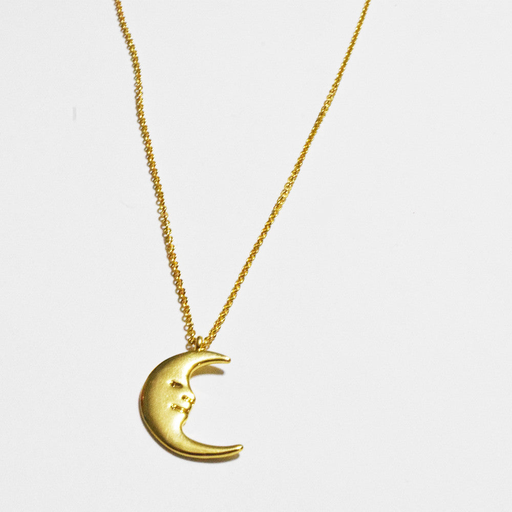 [Stainless Steel] Lune Smiling Moon Necklace