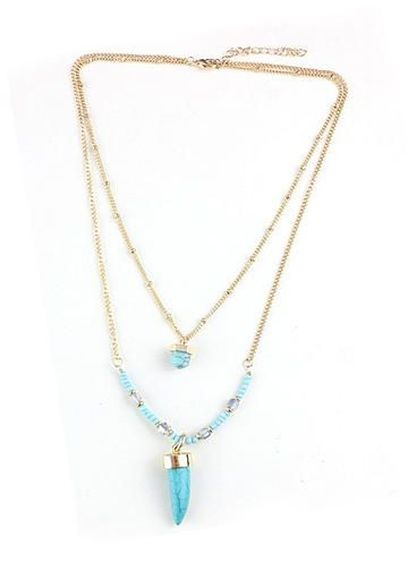 Rucratia Tribal Layered Necklace in Turquoise