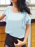 Sendra Flutter Sleeves Top in Blue