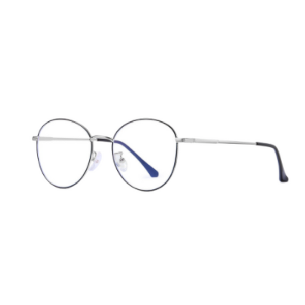 Z011 Silver Round Anti Blue Light Glasses