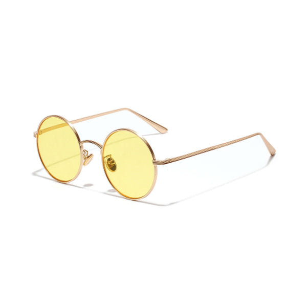 N018 Yellow Round Sunglasses