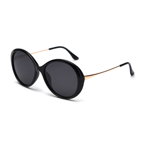 N056 Polarized Black Oval Sunglasses
