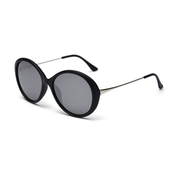 N057 Polarized Silver Oval Sunglasses