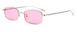 R027 Pink Small Rectangular Sunglasses