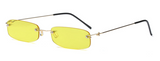 R034 Yellow Rimless Small Sunglasses
