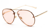 R041 Clear Pink Aviator Sunglasses