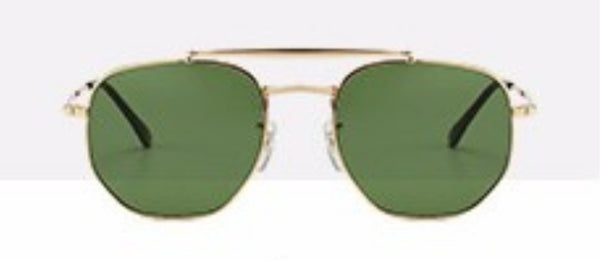 N022 Gold Green Hexa Sunglasses