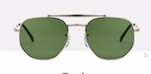 N024 Silver Green Hexa Sunglasses