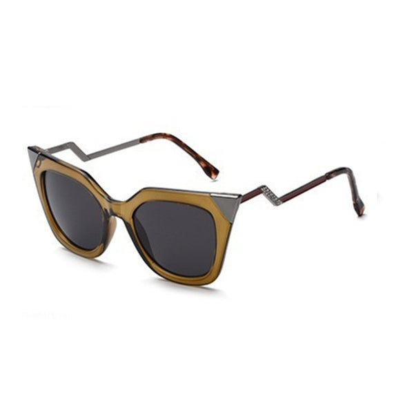 C009 Brown Classic Cat Eye Sunglasses