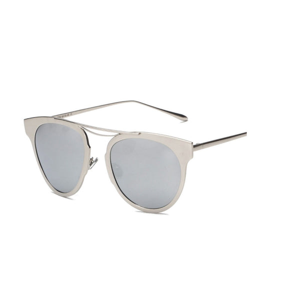 C013 Silver Polarized Cat Eye Sunglasses