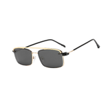 N043 Polarized Black/Gold Rectangular Clip On Sunglasses
