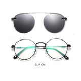 N047 Black Clip On Round Glasses