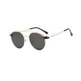 N048 Gold/Black Clip On Round Glasses