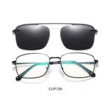 N049 Black Clip On Rectangular Glasses