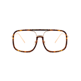 U062 Brown Clear Square Sunglasses