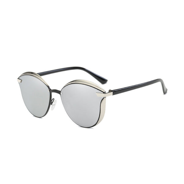 C008 Silver Polarized Cat Eye Sunglasses
