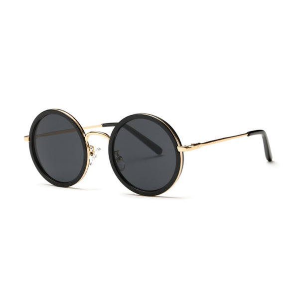 W028 Black Round Sunglasses