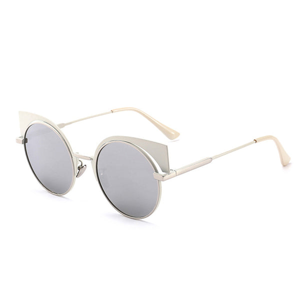 C025 Silver White Cat Eye Sunglasses
