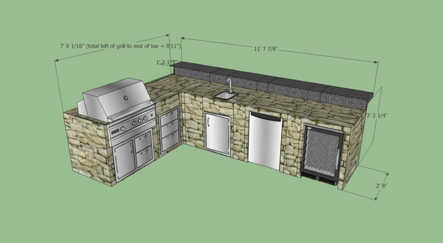 L Shape Outdoor Kitchen with Back Bar