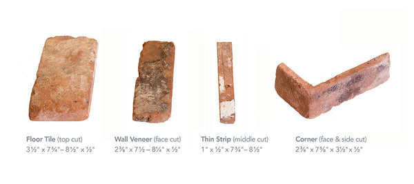 Reclaimed Thin Brick Veneer sizes