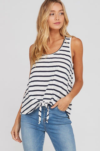 Saylorville Striped Tank - Ivory/Navy