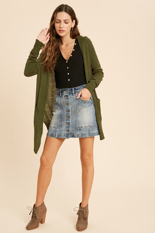 Swept Away Knit Cardigan - Olive