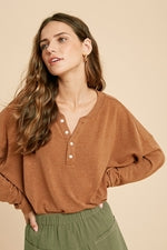 Casual Heather Henley Knit Top - Camel