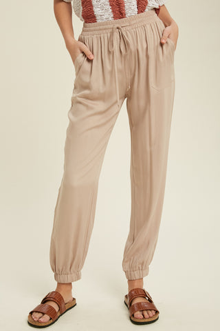 Casual Tie Waist Jogger Pants - Taupe