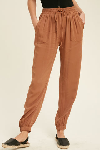 Casual Tie Waist Jogger Pants - Copper