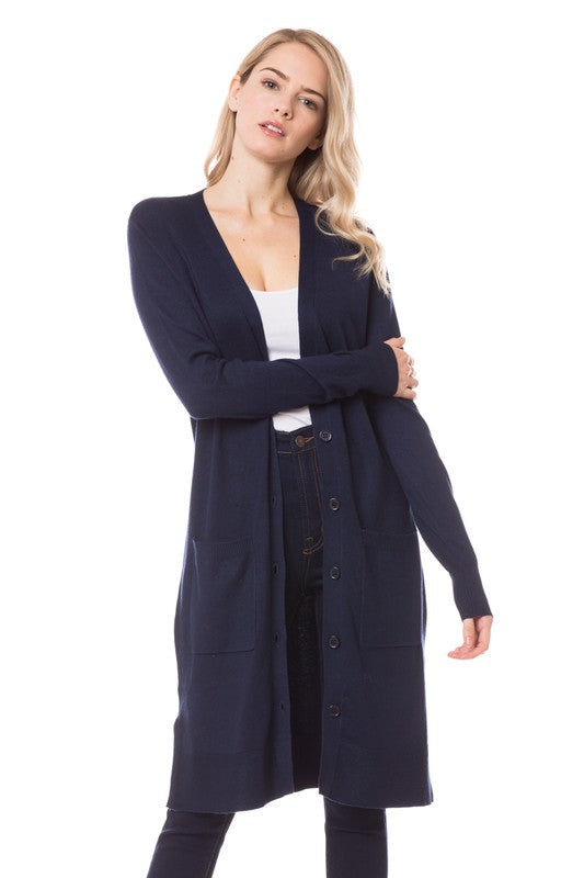 Mariah Long Classic Cardigan - Navy
