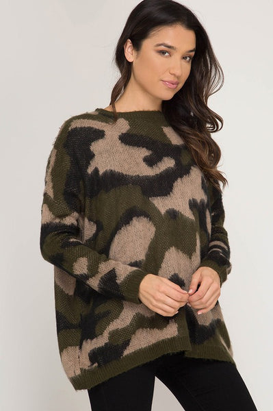 Casey Camo Sweater - Olive