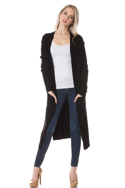 Lilly Pocketed Long Cardigan - Black