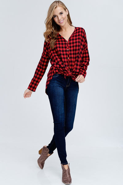 Button Down Buffalo Plaid Top - Red