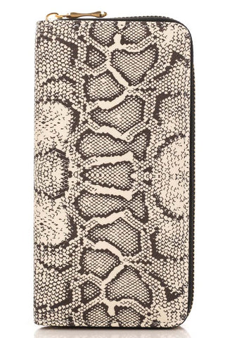 Snake Print Zip Wallet - Black
