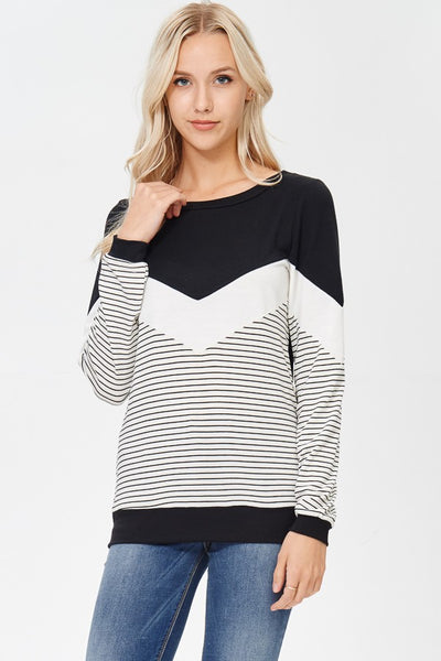 Black & White Knit Top