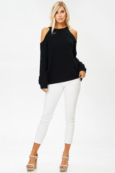 Chrissy Cold Shoulder Sweater - Black