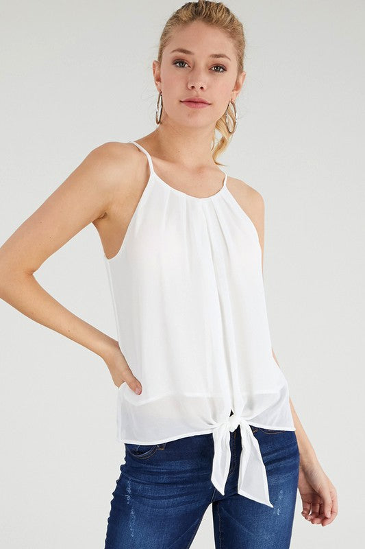 Frankie Pleat Front Tank - Off White