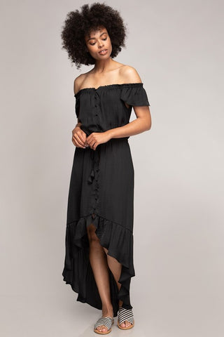 Ashley Maxi Ruffle Dress - Black