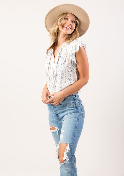 Ginny Button Up Top - Blue