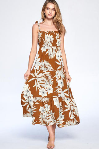 Pure Bliss Midi Dress - Brown