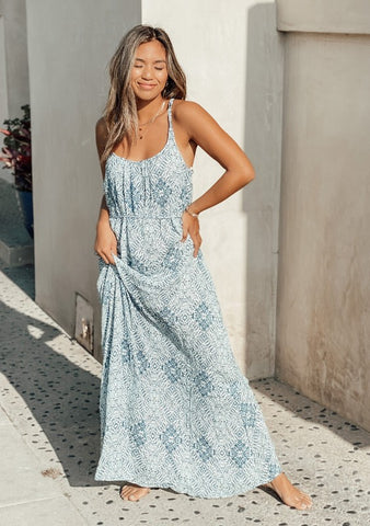 Austin Geometric Maxi Dress - Blue