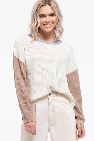 Isla Color Block Sweater - Taupe Multi