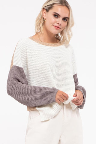 Isla Color Block Sweater - Grey Multi