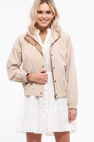 You Betcha Contrast Jacket - Khaki