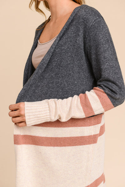 Lacey Color Block Cardigan - Charcoal