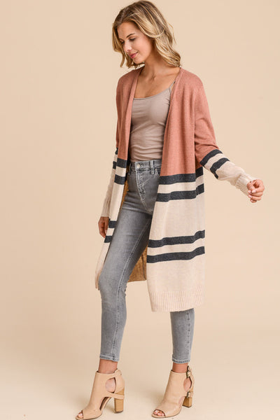 Lacey Color Block Cardigan - Rust
